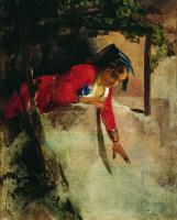 Иван Кузьмич Макаров. Итальянка на балконе. 1853-1855 Этюд