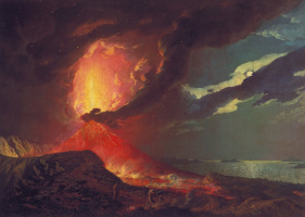 Joseph Wright. Vesuvius in Eruption, with a View over the Islands in the Bay of Naples