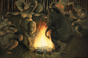"The night of Ivan Kupala, from the series ""Elephants Petersburg"""