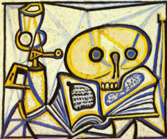 Pablo Picasso. Vanitas. A skull, a book and a kerosene lamp