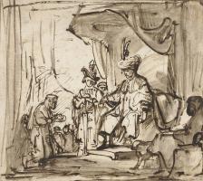 Карел Фабрициус. Слуга протягивает Давиду корону Саула. Эскиз