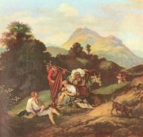 Адриан Людвиг Рихтер. Итальянский пейзаж с отдыхающими путниками