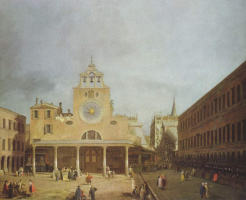 Giovanni Antonio Canal (Canaletto). The square in front of San Giacomo di Rialto in Venice