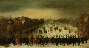 Adam van Breen. Vijverberg winter Prince Mauritzen and his retinue in the foreground
