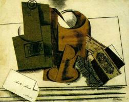 Пабло Пикассо. Бутылка Басса, бокал, пачка табака и визитная карточка