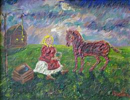 Давид Давидович Бурлюк. Девочка поит лошадь