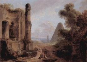 Гюбер Робер. Воображаемый вид пирамиды Цестия на фоне развалин храма