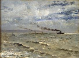 Альфред Стевенс. Море с кораблями