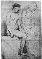 Рембрандт Ван Рейн. Лист с этюдами двух обнаженных, сидящих в полупрофиль