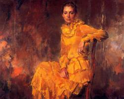Рикардо Макаррон. Сидящая женщина в оранжевом платье