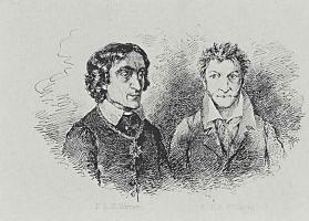 Адольф фон Менцель. Писатели Фридрих Людвиг Захария Вернер и Эрнст Теодор Амадей Гофман