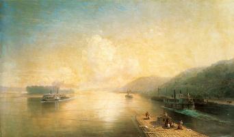 Ivan Aivazovsky. The Volga near the Zhiguli mountains