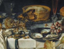 Питер Клас. Натюрморт с кувшином, разбитым бокалом, пирогом, устрицами и виноградом. Фрагмент 2