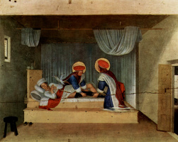 Fra Angelico. The Central altar of saints Cosmas and Damian from the Dominican convent of San Marco in Florence, the Foundation of the triptych, the ninth stage