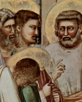 Джотто ди Бондоне. Изгнание торговцев из храма, деталь: Дискуссия апостолов