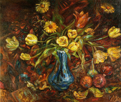 Tulips in a blue vase