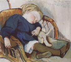 Zinaida Evgenievna Serebryakova. So Binika asleep (Evgeny Serebryakov)