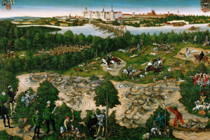 Лукас Кранах Младший. Оленья охота курфюрста Иоганна Фридриха. 1544
