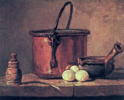 Жан Батист Симеон Шарден. Медный котелок, перечница, лук-порей, три яйца и кастрюлька