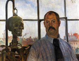 Lovis Corinto. Self-portrait with skeleton