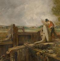 Джон Констебл. Лодка, проходящая плотину. Эскиз. Фрагмент: крестьянин у шлюза