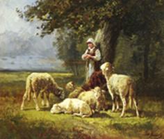 Шарль Эмиль Жак. Пастушка в лесу