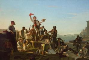 George Caleb Bingham. Cheerful boatmen at the port