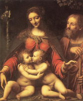 Бернардино Луини. Святое семейство с младенцем святого Иоанна