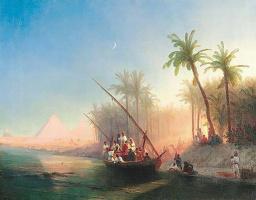 Иван Константинович Айвазовский. Лодка на реке Нил с пирамидами Гизы