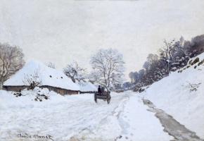 Клод Моне. Телега на заснеженной дороге и ферма Сен-Симон