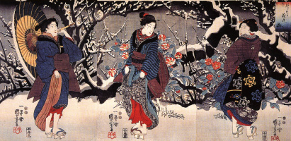 Утагава Куниёси. Триптих: Три женщины в зимнем саду