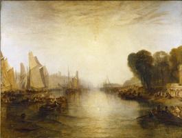Joseph Mallord William Turner. Lock East Cowes, estate of George. Nash. The regatta begins mooring