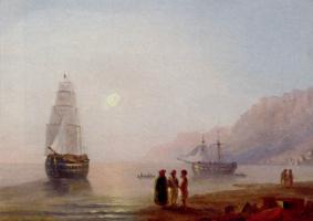 Ivan Aivazovsky. Conversation on the shore. Twilight