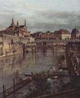 Джованни Антонио Каналь (Каналетто). Вид Дрездена, старый водяной ров Цвингера, фрагмент