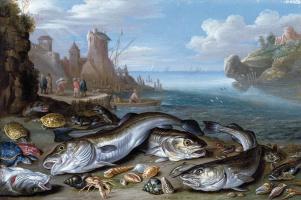 Ян ван Кессель Старший. Морской залив с рыбами на берегу