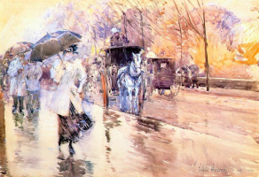 Childe Hassam. Rainy day on Fifth Avenue