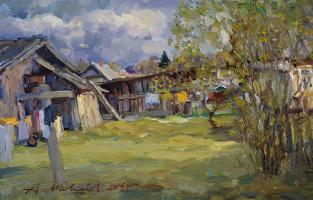 Alexander Victorovich Shevelyov. Village courtyard.Hardboard,oil, 25 x 40 cm 2014