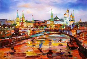 View of the Kremlin through the Big Stone Bridge. Evening
