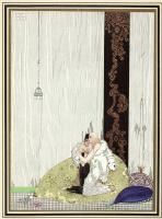 """Кей Нильсен. Лад в шкуре медведя и дочь короля Аравии. Иллюстрация к сборнику сказок """"На восток от солнца, на запад от луны"""""""