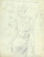 Александр Васильевич Шевченко. Дама на фоне сада. 1920-е  Калька