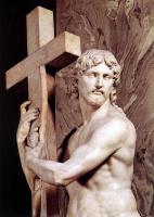Микеланджело Буонарроти. Христос с крестом. Фрагмент.