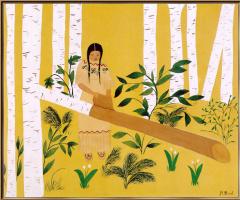 Агнес Птица. Женщина зачищает бересту