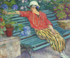 Henri Lebasque. Young woman seated with Hydrangeas