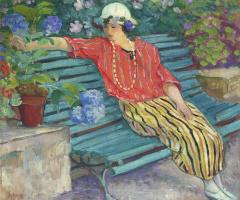 Анри Лебаск. Молодая женщина, сидя с Гортензии
