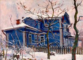 Petr Petrovich Konchalovsky. First snow. Blue cottage