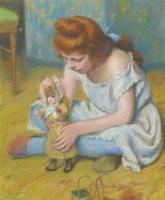Федерико Дзандоменеги. Девочка, играющая с куклой