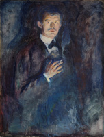 Edvard Munch. Self-portrait with a lit cigarette