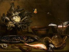 Отто Марсеус ван Скрик. Натюрморт с рыбой и цветной капустой