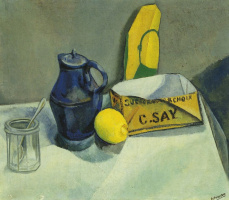 Still life with blue coffee pot