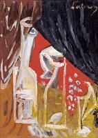 Михаил Федорович Ларионов. Натюрморт с графином и шторами